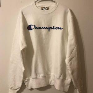 Champion Reverse Weave Script Logo White Sweater